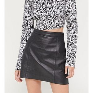 Vintage black high waisted leather mini skirt xs